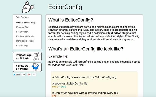 EditorConfigのサイトへ