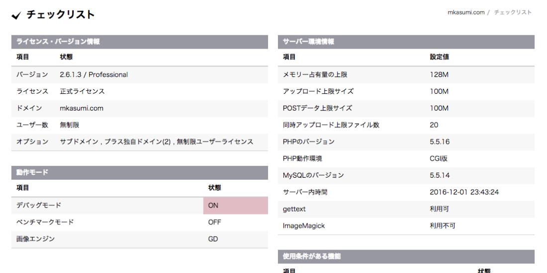 (チェックリストの管理画面の図)