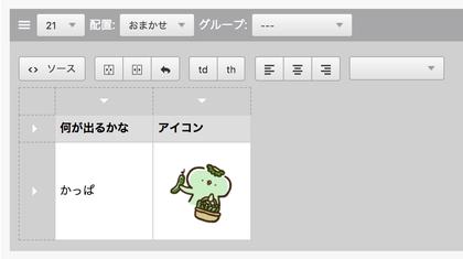 保存後、テーブルユニットの入力インターフェース内では「_K_」の文字がなくなりかっぱの画像に置き換わった