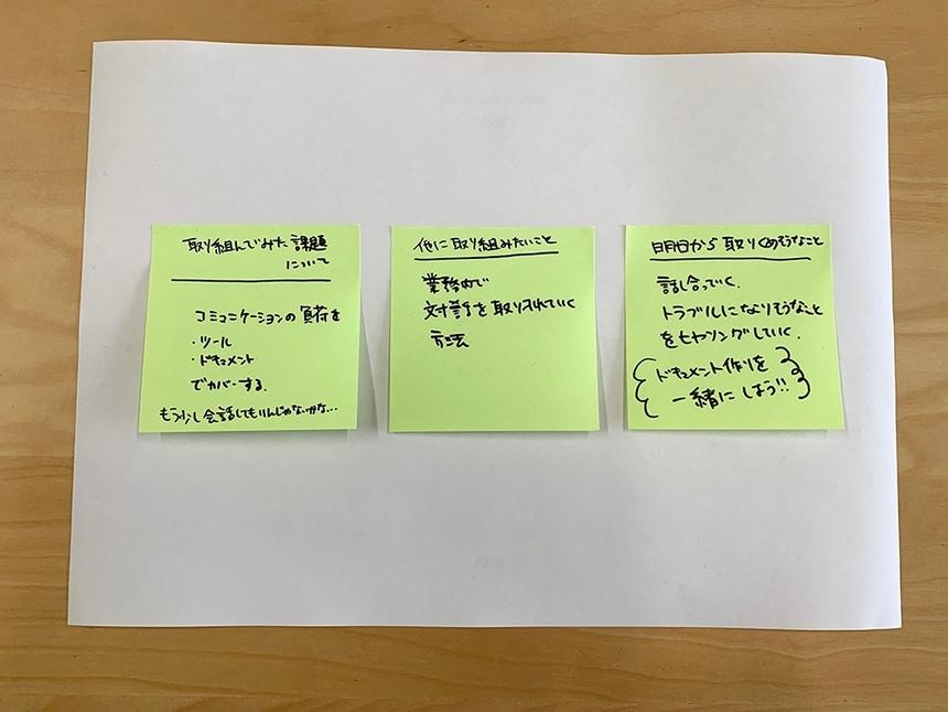 取り組んでみた課題について、他に取り組みたいこと、明日から取り組めることをそれぞれポストイットに書く