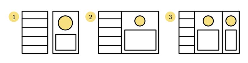 TODOリストでは、1カラム、2カラム、3カラムなどの3パターン検討した。